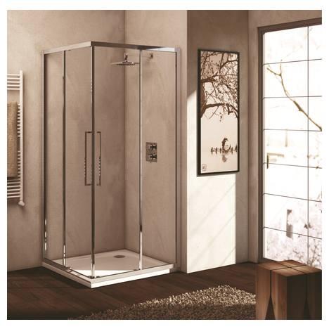 Kubo A 85 cm, плъзгаща се врата за душ кабина, сребърен профил, стъкло сатен