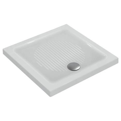 Connect Квадратно поддушово корито за инсталация върху пода с отвор за сифон в предната част, 80 x 80 x 6 cm