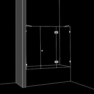 Параван за вана 3 части 1 отваряема врата