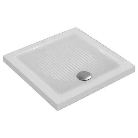 Connect Квадратно поддушово корито за инсталация върху пода с отвор за сифон в предната част, 90 x 90 x 6 cm