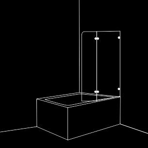 Параван за вана с една подвижна и една статична част