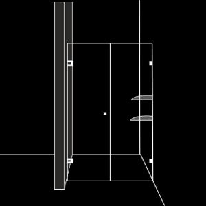 Скосена душ преграда с 1 отваряема врата