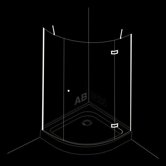 Овална душ-кабина от 3 части с 1 врата