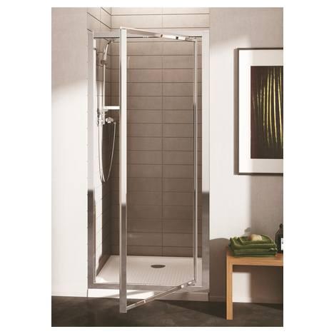Connect врата за душ кабина 80 cm (реверсивна), Ideal Clean, прозрачно стъкло, сребърен/ бял профил