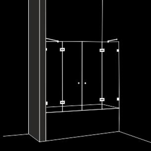 Параван за вана 4 части 2 отваряеми врати