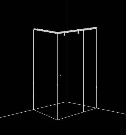 Душ-кабина на плъзгане, съставена от 3 части и 1 врата