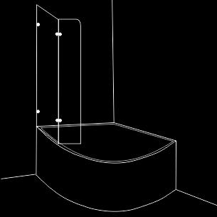 Параван за вана от една подвижна част