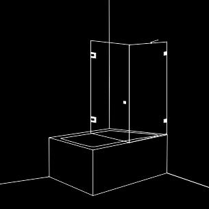 Параван за вана 2 части 1 отваряема врата