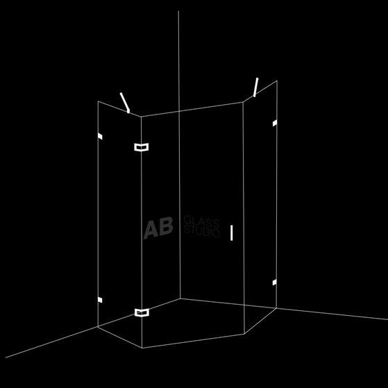 Петоъгълна душ кабина 45/45/60 с една врата