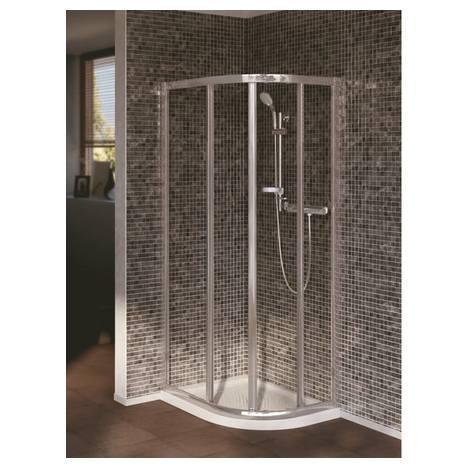 Connect асиметрична заоблена душ кабина 70 x 90 cm, Ideal Clean, прозрачно стъкло, сребърен/ бял профил