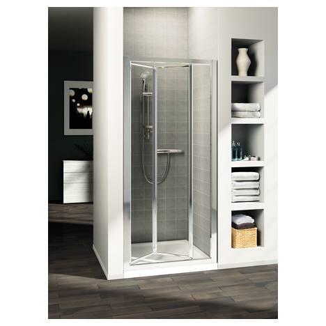 Connect сгъваема врата 80 cm (реверсивна), Сребърен профил, Матово стъкло